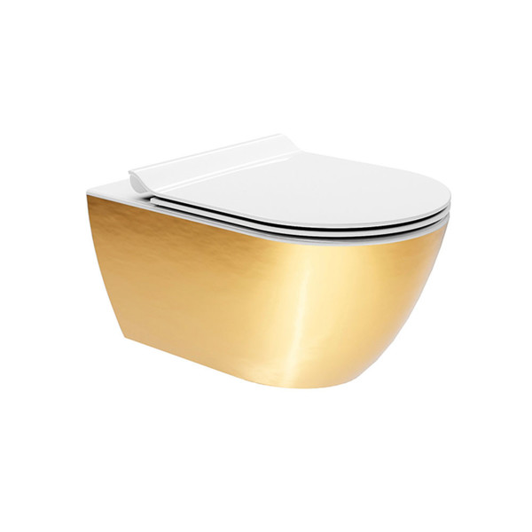 Εικόνα από Λεκάνη Κρεμαστή GSI Pura Swirl 881500SC-200300 55cm Gold Με Slim Soft Close Κάλυμμα