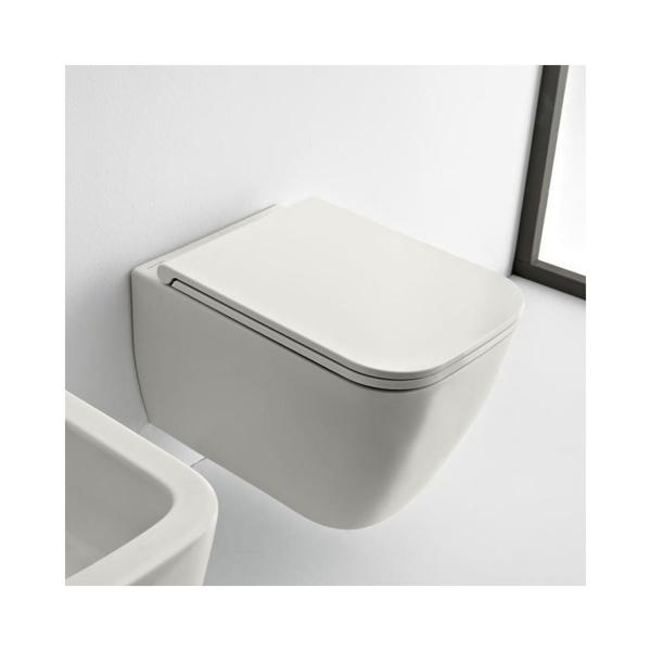 Εικόνα από Λεκάνη Κρεμαστή Scarabeo Teorema Clean Flush 512600SC-301 Rimless 52cm White Matt Με Slim Soft Close Κάλυμμα