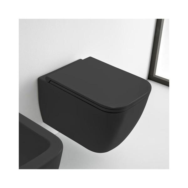 Εικόνα από Λεκάνη Κρεμαστή Scarabeo Teorema Clean Flush 512600SC-401 Rimless 52cm Black Matt Με Slim Soft Close Κάλυμμα