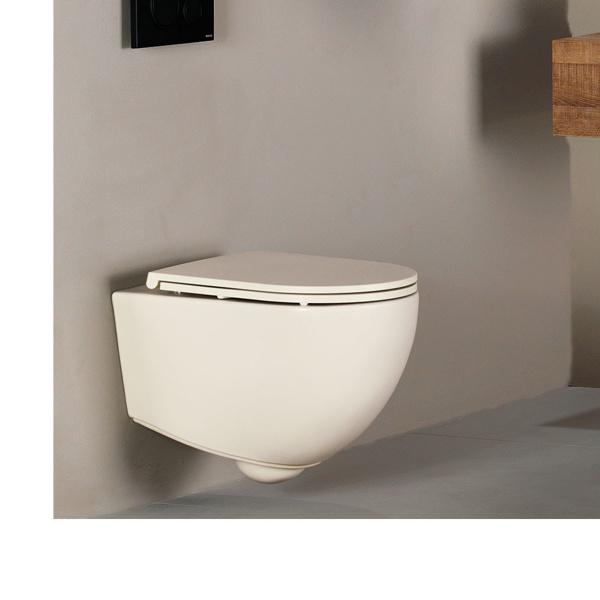 Εικόνα από Λεκάνη Κρεμαστή Bianco Ceramica Lenta 381500C-311 53cm Ivory Matt Με Soft Close Κάλυμμα