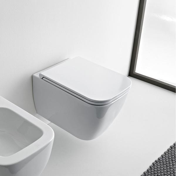 Εικόνα από Λεκάνη Κρεμαστή Scarabeo Teorema Clean Flush 512600SC Rimless 52cm Με Slim Soft Close Κάλυμμα