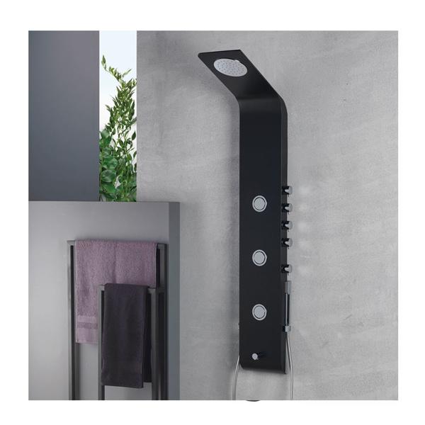 Εικόνα από Στήλη Ντούς-Υδρομασάζ  Icos Shower Lete Θερμομικτική Black Matt 4 Εξόδων