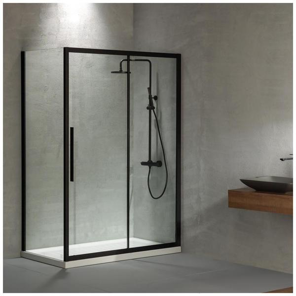 Εικόνα από Καμπίνα Ντουσιέρας Devon Flow Slider 1+1 SLF130C-400 127-131cm Black Matt Clean Glass