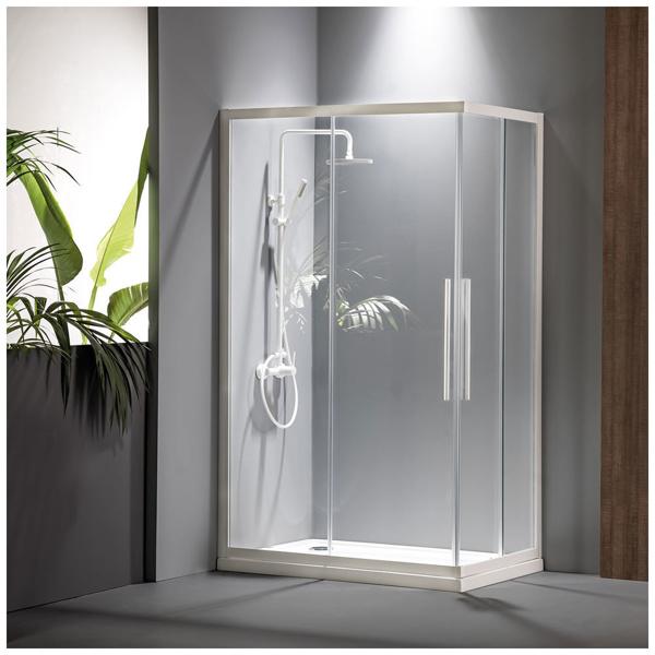Εικόνα από Καμπίνα Ντουσιέρας Devon Flow Corner Entry  CF12080C-300 120x80cm White Matt Clean Glass