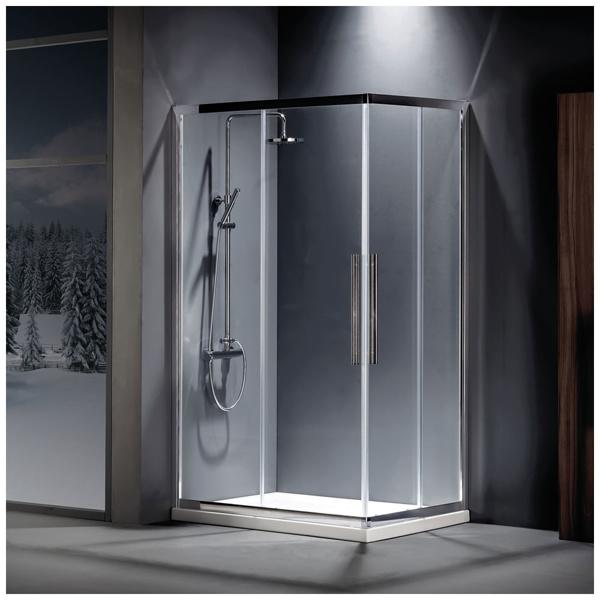 Εικόνα από Καμπίνα Ντουσιέρας Devon Flow Corner Entry  CF80C-100 80x80cm Clean Glass